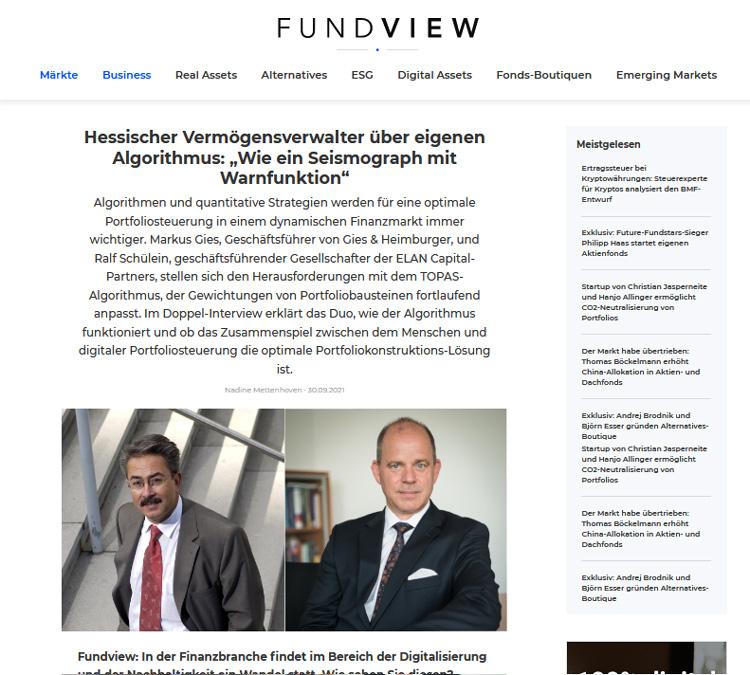 """FUNDVIEW 09/2021: Hessischer Vermögensverwalter über eigenen Algorithmus: """"Wie ein Seismograph mit Warnfunktion"""""""